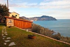 Paisaje italiano de Riviera Fotografía de archivo