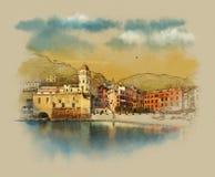 Paisaje italiano en la ciudad de vacaciones de Vernazza, Cinque Terre, Italia Bosquejo de la acuarela, ejemplo Fotografía de archivo libre de regalías