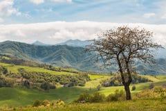 Paisaje italiano hermoso del campo sobre Rolling Hills y B Foto de archivo libre de regalías