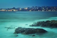 Paisaje largo del mar de la exposición Tomado de Vila Nova de Gaia, Oporto, Portugal Imagen de archivo