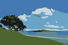 Paisaje lateral de la playa Stock de ilustración