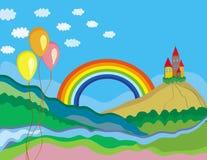 Paisaje lindo del verano con el arco iris stock de ilustración