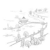 Paisaje linear del vector con el muelle y los barcos libre illustration
