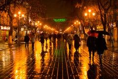 Paisaje lluvioso en Saratov a finales de la caída Foto de archivo