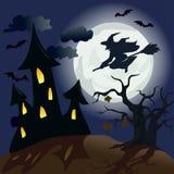 Paisaje lunar con la bruja. Halloween Foto de archivo