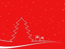 Paisaje mínimo de la Navidad con dos cajas de regalo Fotografía de archivo libre de regalías