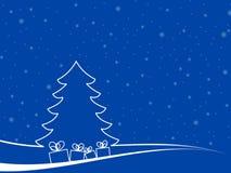Paisaje mínimo de la Navidad con las cajas de regalo Imagen de archivo libre de regalías