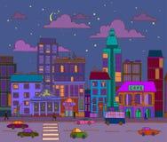 Paisaje a mano de la ciudad de la tarde del vector ilustración del vector