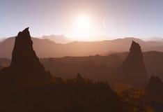 Paisaje marciano con los soles y las formaciones de roca Foto de archivo libre de regalías
