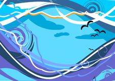 Paisaje marino abstracto con la gaviota de la onda y de mar. foto de archivo