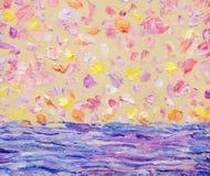 Paisaje marino abstracto del aceite Puesta del sol romántica sobre el mar Imagenes de archivo