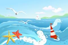 Paisaje marino, boya y estrellas de mar Imagen de archivo