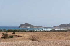 Paisaje marino Cabo De Gata, Almeria Andalucia Spain foto de archivo libre de regalías