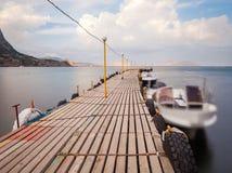 Paisaje marino con el embarcadero Imagenes de archivo
