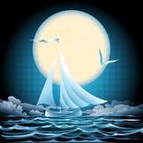 Paisaje marino con el velero Imágenes de archivo libres de regalías