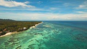 Paisaje marino con la isla tropical, playa, centro turístico, hoteles Bohol, área de Anda, Filipinas almacen de video