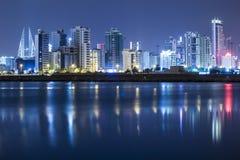 Paisaje marino de la noche de Bahrein Foto de archivo libre de regalías