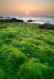 Paisaje marino de la playa en la puesta del sol, Tailandia de pattaya Foto de archivo libre de regalías