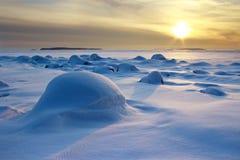 Paisaje marino de la tarde del invierno Fotos de archivo