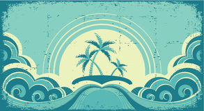Paisaje marino de la vendimia con las palmas tropicales Fotografía de archivo libre de regalías