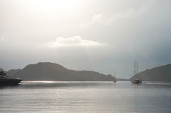Paisaje marino de plata sereno en Croacia Foto de archivo libre de regalías