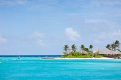 Paisaje marino del centro turístico de maldives imagen de archivo