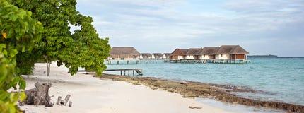 Paisaje marino del panorama de Maldives en Landaa Giraavaru Fotografía de archivo libre de regalías