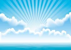 Paisaje marino del vector con las nubes y los rayos del sol