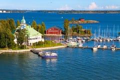 Paisaje marino del verano en Helsinki, Finlandia Foto de archivo libre de regalías