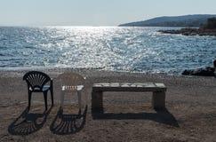 Paisaje marino del verano en la puesta del sol Imágenes de archivo libres de regalías