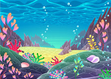 Paisaje marino divertido de la historieta ilustración del vector