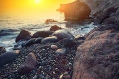 Paisaje marino durante puesta del sol Foto de archivo
