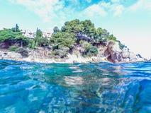 Paisaje marino en Costa Brava, Cataluña Foto de archivo libre de regalías