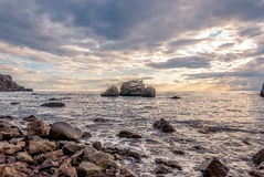 Paisaje marino en la puesta del sol Imágenes de archivo libres de regalías