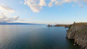 Paisaje marino hermoso del lago Baikal Tiro a?reo almacen de video