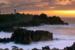 Paisaje marino hermoso en la oscuridad Imagen de archivo