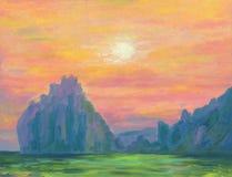 Paisaje marino hermoso Puesta del sol sobre el mar libre illustration