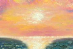 Paisaje marino hermoso Sun en la puesta del sol sobre el mar ilustración del vector