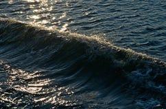 Paisaje marino iluminado por el sol con las ondas Fotos de archivo
