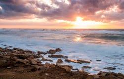 Paisaje marino, mar Mediterráneo, Israel Fotos de archivo libres de regalías