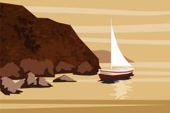 Paisaje marino, mar, océano, rocas, piedras, pez volador, barco, vector, ejemplo, aislado stock de ilustración