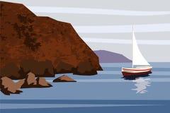 Paisaje marino, mar, océano, rocas, piedras, pez volador, barco, vector, ejemplo, aislado ilustración del vector