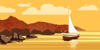 Paisaje marino, mar, océano, rocas, piedras, pez volador, vector, ejemplo, aislado libre illustration