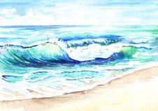 Paisaje marino Ola oceánica Ejemplo dibujado mano de la acuarela stock de ilustración