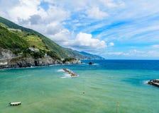 Paisaje marino pintoresco de Cinque Terre National Park, Monterosso A Imagen de archivo libre de regalías