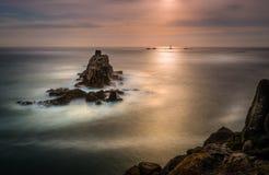 Paisaje marino soñador, extremo de las tierras, Cornualles fotografía de archivo