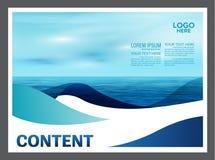 Paisaje marino y fondo de la plantilla del diseño de la disposición de la presentación del cielo azul para el negocio del viaje d Imagen de archivo