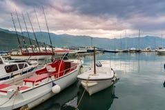 Paisaje marino y nubes de tormenta en Montenegro, Europa Imágenes de archivo libres de regalías