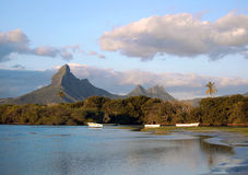 Paisaje mauriciano en la bahía del Tamarin Fotografía de archivo