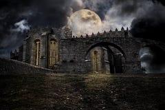Paisaje medieval de víspera de Todos los Santos Foto de archivo libre de regalías